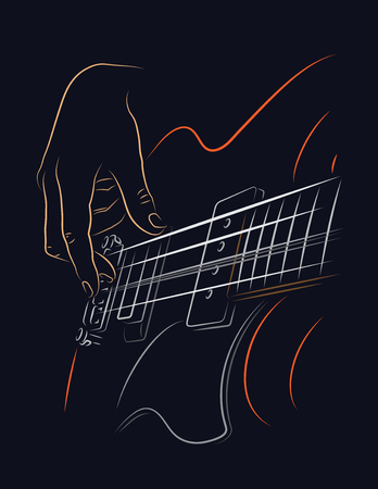 Playing Bass illustration. Picking bass strings with right hand fingers.