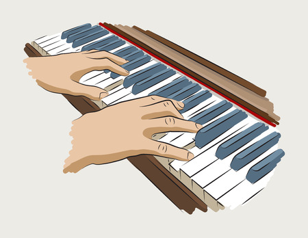 Playing piano. Colored illustration hands on piano.