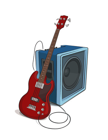 rehearsal: Bass and Amplifier colored clip art illustration