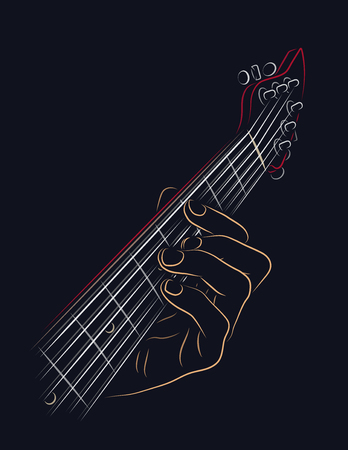 frets: Playing guitar chord color illustration. Illustration