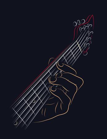 hand jamming: Playing guitar chord color illustration. Illustration