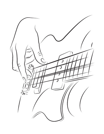 Playing bass guitar line art illustration