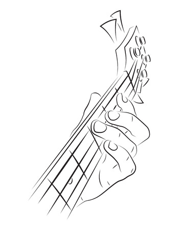 picking fingers: Playing bass lineart illustration