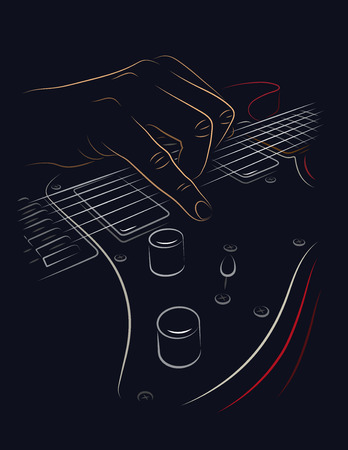 hand jamming: Playing red electric guitar line art illustration.