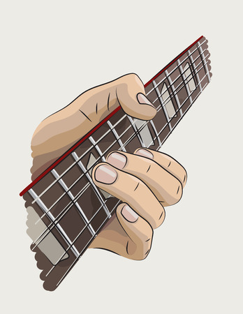 solo: Playing guitar colored illustration.