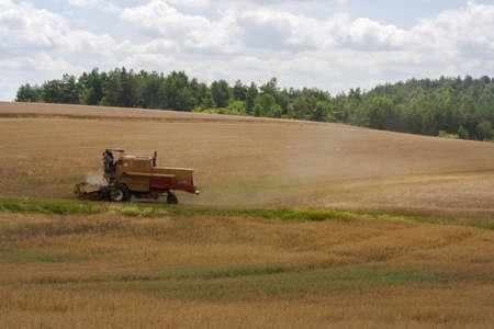combine: Combine working in field