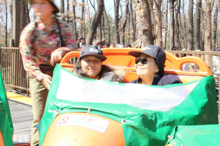 EVERLAND, YONGIN, KOREA - APRIL 06 : The unidentified tourists are travelling and enjoyAmazon Express A rafting adventure on the Amazon River in Latin America on april 06, 2011 at Everland, Yongin, Korea.