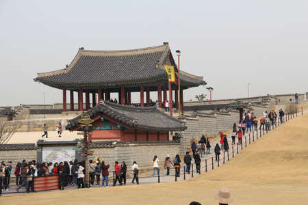 HWA SEONG FORTRESS,KOREA - APRIL 06: The unidentified tourists are travelling and enjoy  on april 06,2011 at hwa seong fortress ,korea Stock Photo - 11481983