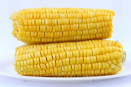 Tasty kitchen. Fresh corn closeup Stock Photo