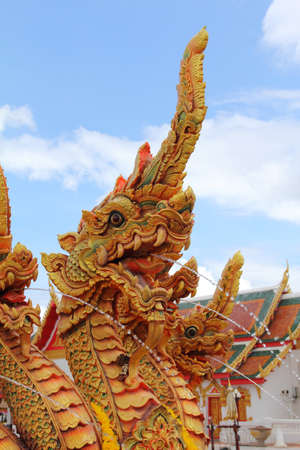 naga china: Thai dragon or king of Naga statue with three heads