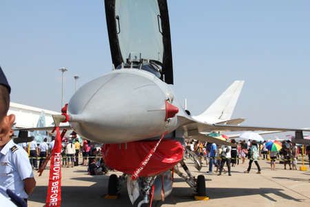 BANGKOK - JANUARY 14 : F-16 ADF on display at Don Muang Airshow, January 14, 2012, Don Muang Airport, Bangkok, Thailand.