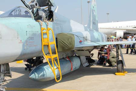 f 16: BANGKOK - JANUARY 14 : F-5E ADF on display at Don Muang Airshow, January 14, 2012, Don Muang Airport, Bangkok, Thailand.