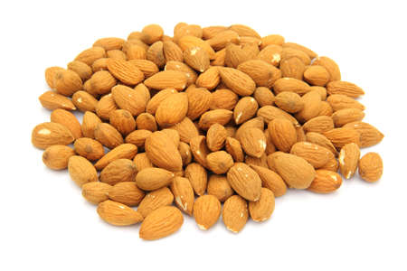 nuts almonds on a white background Stock Photo