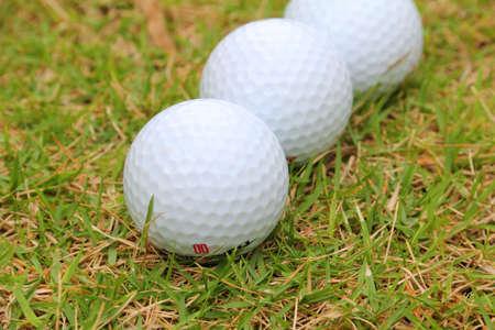 Golf balls in grass.