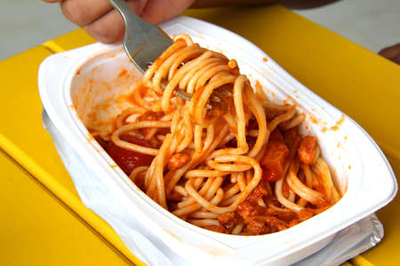 spaghetti bolognese served on white plate Stock Photo - 13955541