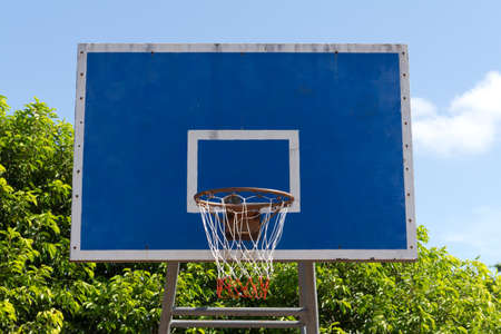 Basketball goal net on blue sky Stock Photo