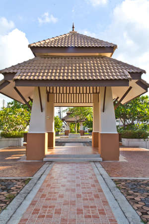 Modern style pavilion in the park. Stock Photo