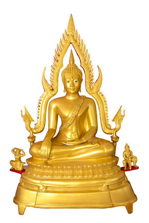 Statues of Buddha in gold on a white background  Stock Photo