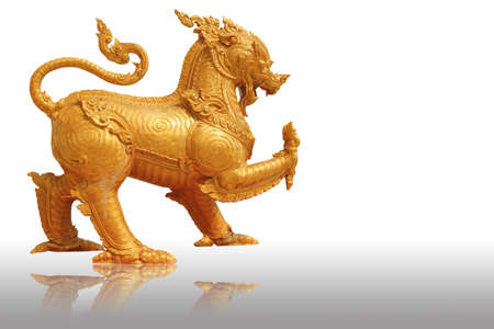 Singha  Lion statue  on isolated background Stock Photo