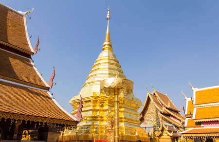 Phra thart doisuthep temple with blue sky,Chiangmai province,Thailand The most popular temple