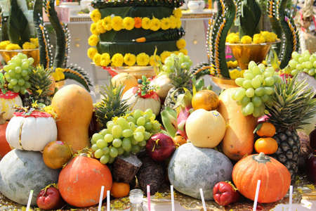 fruits are sacrificial offering in warship Stock Photo