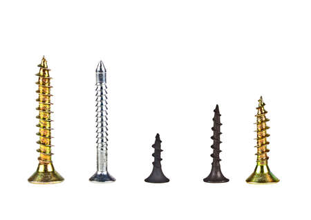disassemble: Various screws on a white background Stock Photo