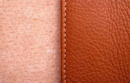 plain stitch: Brown leather label with seam Stock Photo