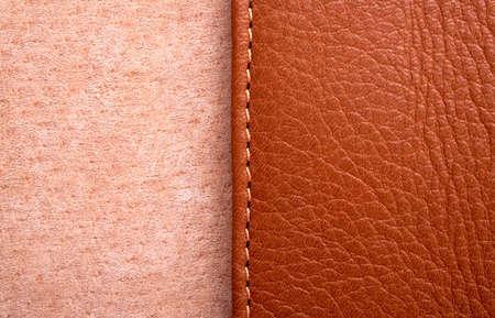 Brown Leder-Label mit Naht Standard-Bild