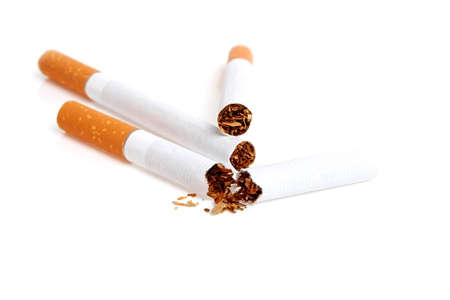 smothered: Cigarettes isolated on white background