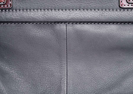 leather label: Black leather label with seam Stock Photo