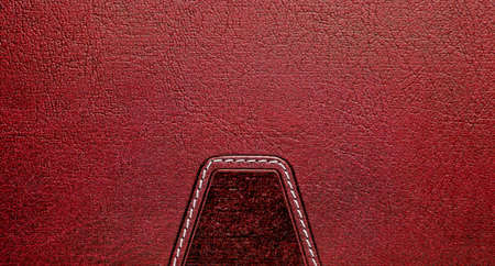 leather label: Red leather label with seam