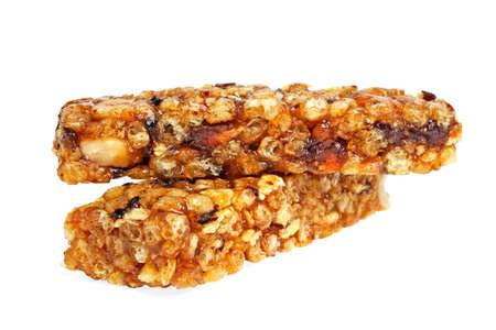 cereal bar: barra de cereal sano aislados sobre fondo blanco