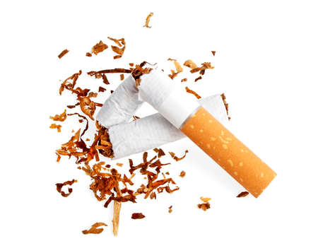 Broken cigarette isolated on white background Stock Photo