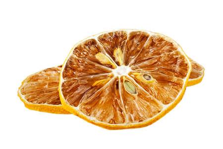 Dried lemon slices isolated on white background Stock Photo