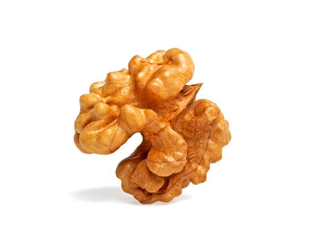 kernel: Kernel walnut isolated on the white background closeup