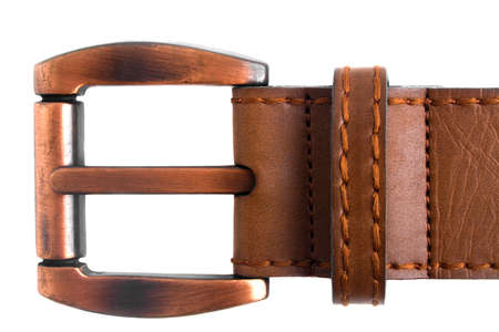 Brown buckle on a white background Stock Photo