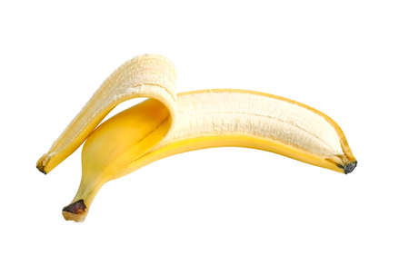 Peeled banana on white background Stock Photo