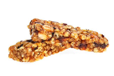 barra de cereal: Healthy cereal bar isolated on white background