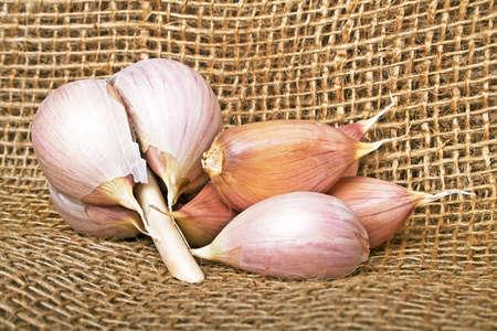 Garlic on burlap background Stock Photo