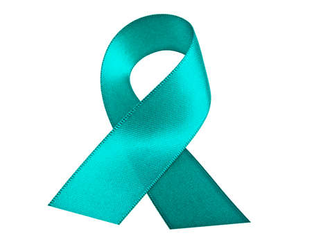Teal ribbon on a white background