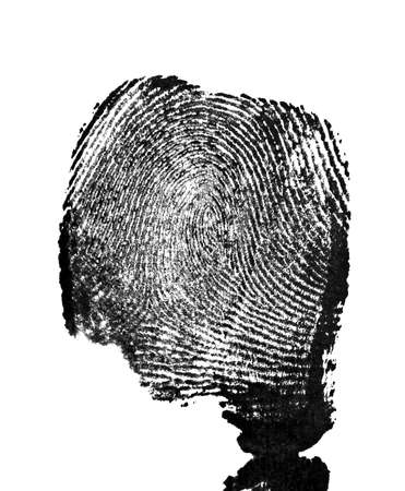 labyrinthine: Fingerprint on white background Stock Photo