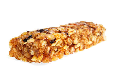 roughage: Healthy cereal bar isolated on white background