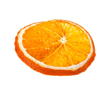 optional: Dried slice of orange on a white background
