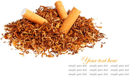 Cigarettes and tobacco isolated on white background Stock Photo