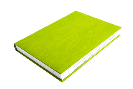 Green book on a white background