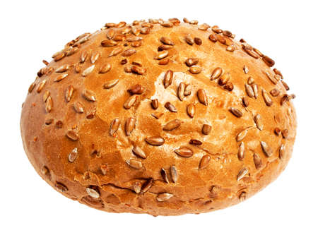 cellulose: A loaf of delicious homemade bread with sunflower seeds isolated on white background