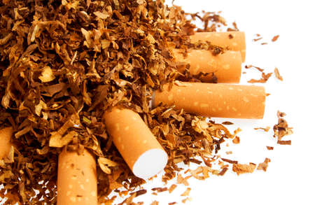vices: Cigarette and tobacco isolated on a white background
