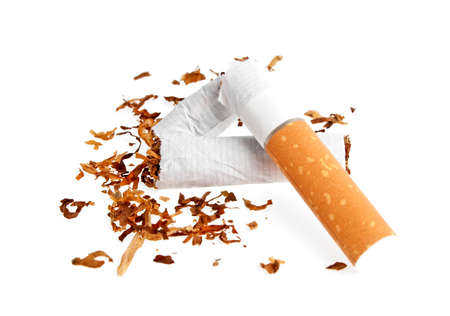 smothered: Broken cigarette isolated on white background Stock Photo