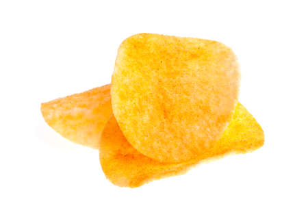 saturated color: Potato chips with pepper isolated on white background Stock Photo