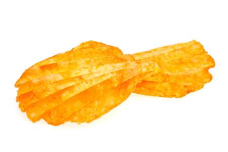 grasas saturadas: Patatas fritas con pimienta aisladas sobre fondo blanco Foto de archivo